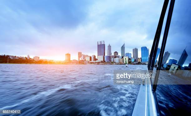 perth skyline - perth australia stock pictures, royalty-free photos & images