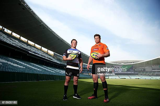 Perth Spirit captain Heath Tessman and NSW Country Eagles captain Paddy Ryan pose during the 2016 NRC Grand Final media opportunity at Allianz...
