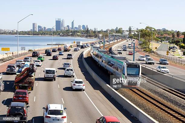 perth traffic - perth australia stock pictures, royalty-free photos & images