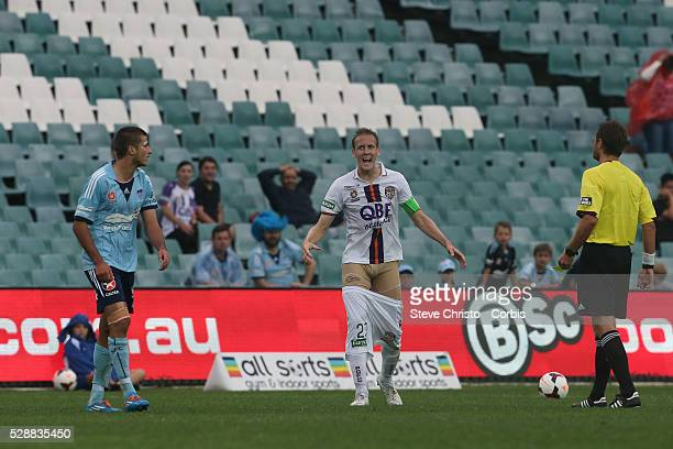 Perth's captain Michael Thwaite pulls down his pants and gets yellow carded during the match against Sydney FC at Allianz Stadium Sydney Australia...