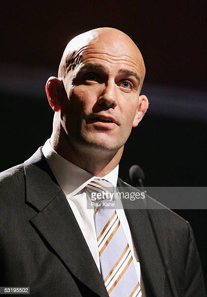 Perth's Western Force coach John Mitchell unveils the clubs jersey at Burswood Resort on July 5, 2005 in Perth, Australia.
