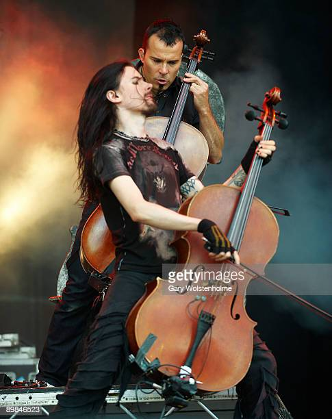 Perttu Kivilaakso and Paavo Lötjönen of Apocalyptica performs on stage on the second day of Bloodstock Open Air festival at Catton Hall on August...