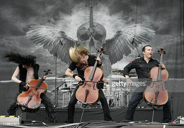 Perttu Kivilaakso Eicca Toppinen and Paao Lotjonen of Apocalyptica perform at Day 3 of Download Fedstival at Castle Donington on June 15 2008