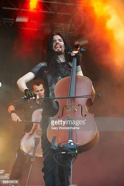 Perttu Kivilaakso of Apocalyptica performs on stage on the second day of Bloodstock Open Air festival at Catton Hall on August 15 2009 in Derby...