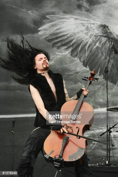 Perttu Kivilaakso of Apocalyptica performs on the main stage during Day 3 of the Download 2008 Festival on June 15 2008 at Donington Park in Castle...