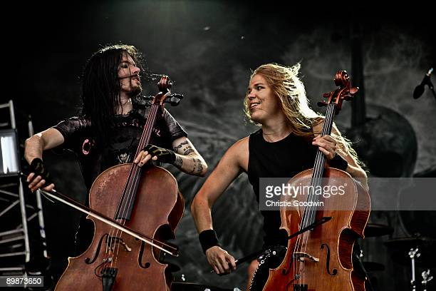 Perttu Kivilaasko and Eicca Toppinen of Apocalyptica perform on stage on the second day of Bloodstock Open Air festival at Catton Hall on August 15...