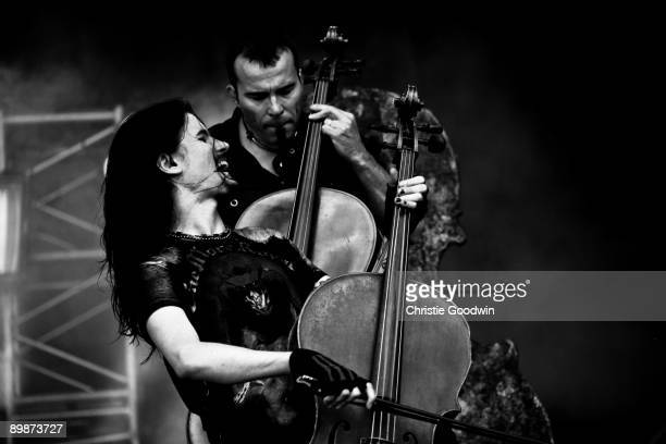 Perttu Kivilaasko and Paavo Lotjonen of Apocalyptica perform on stage on the second day of Bloodstock Open Air festival at Catton Hall on August 15...