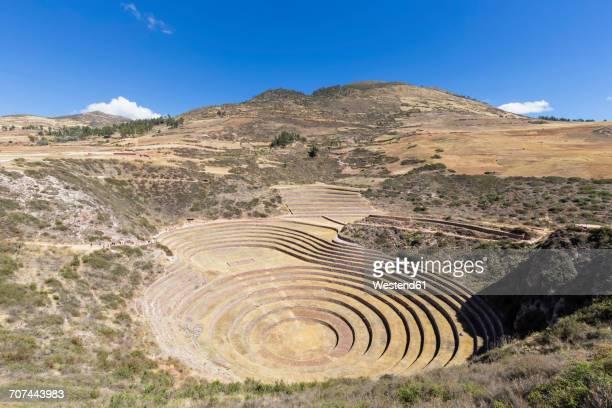 Peru, Andes, Maras, Moray Inca ruin, doline Qechuyoq