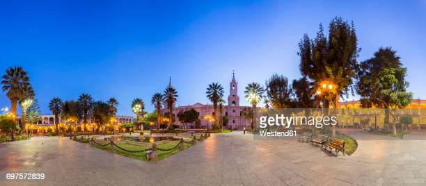 Peru, Arequipa, Plaza de Armas, Cathedral and fountain at blue hour