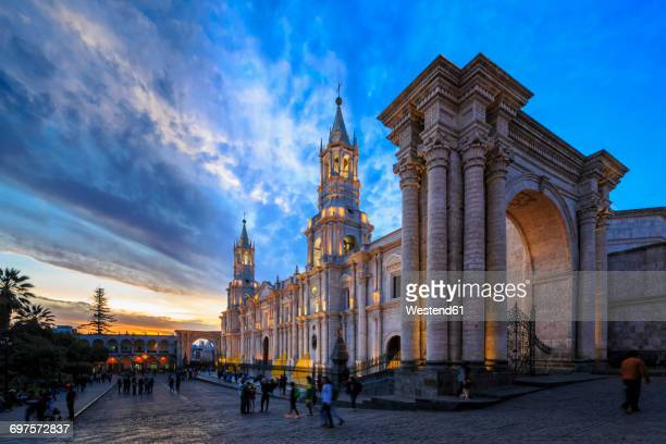 Peru, Arequipa, Plaza de Armas, Cathedral at sunset