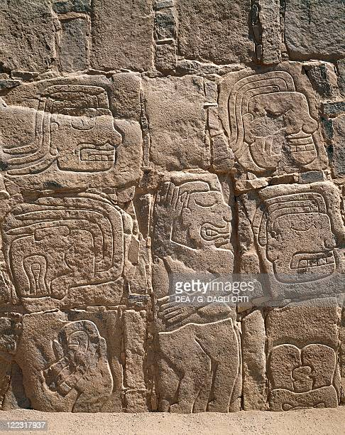 Peru Cerro Sechin preInca archaeological site Stone stele with relief depicting a massacre Chavin style 1st millennium bC