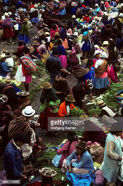 Peru Chinchero Overview Of Colorful Indian Market