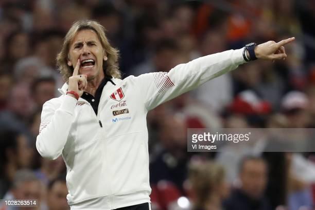 Peru coach Ricardo Gareca during the International friendly match match between The Netherlands and Peru at the Johan Cruijff Arena on September 06,...