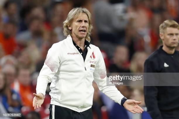 Peru coach Ricardo Gareca during the International friendly match match between The Netherlands and Peru at the Johan Cruijff Arena on September 06...