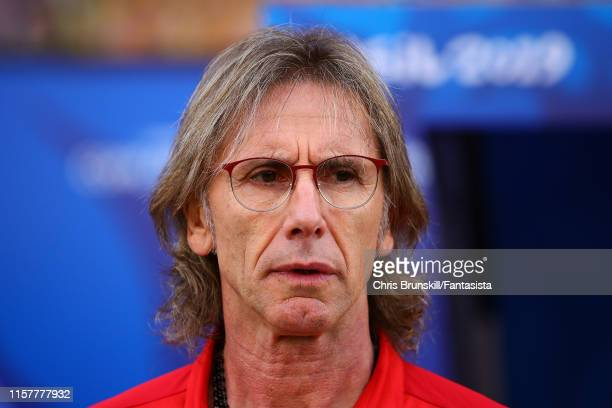 Peru coach Ricardo Gareca looks on during the Copa America Brazil 2019 group A match between Peru and Brazil at Arena Corinthians on June 22 2019 in...