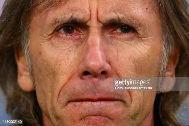 Peru coach Ricardo Gareca looks on during the Copa America Brazil 2019 Semi Final match between Chile and Peru at Arena do Gremio on July 03 2019 in...