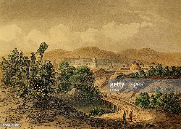 Peru Cusco Founded by Francisco PIzarro Engraving 1850 Color