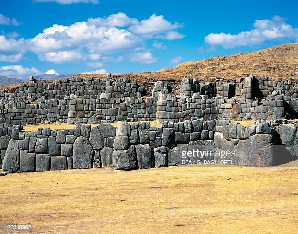 Peru - Cuzco - Inca archaeological site. Sacsahuaman fortress, 15th century. Ramparts.
