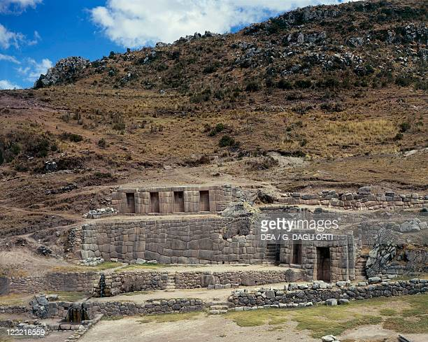 Peru Cuzco Tambu Machay Inca archaeological site Inca walls and fountains known as the 'Inca Baths' 15th century