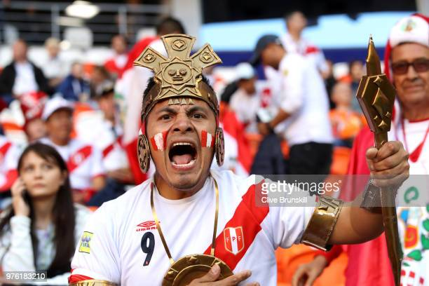 Peru fan enjoys the pre match atmosphere prior to the 2018 FIFA World Cup Russia group C match between Peru and Denmark at Mordovia Arena on June 16,...