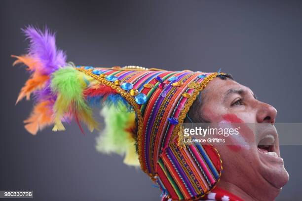 Peru fan enjoys the pre match atmosphere prior to the 2018 FIFA World Cup Russia group C match between France and Peru at Ekaterinburg Arena on June...