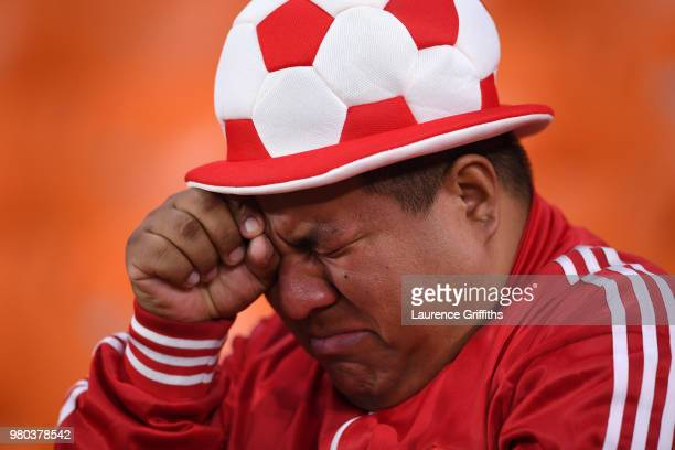 Peru fan looks dejected following his sides defeat in the 2018 FIFA World Cup Russia group C match between France and Peru at Ekaterinburg Arena on...