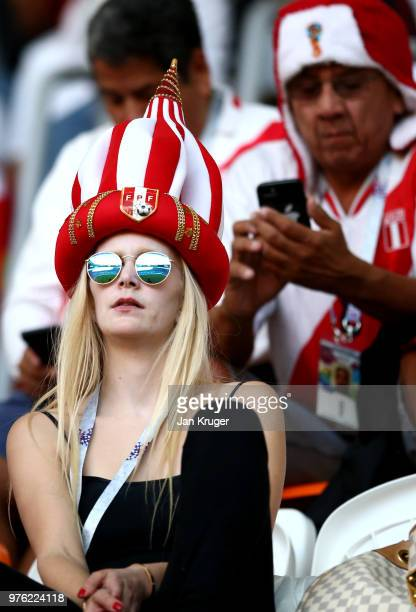 Peru fans enjoy the pre match atmosphere prior to the 2018 FIFA World Cup Russia group C match between Peru and Denmark at Mordovia Arena on June 16...