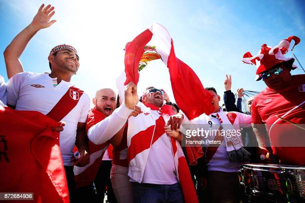 Peru fans sing ahead of the 2018 FIFA World Cup Qualifier match between the New Zealand All Whites and Peru at Westpac Stadium on November 11 2017 in...