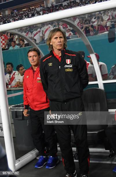 Peru head coach Ricardo Gareca looks on during the international friendly match between Peru and Croatia at Hard Rock Stadium on March 23 2018 in...