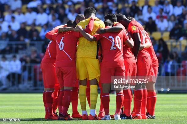 Peru huddle prior to the 2018 FIFA World Cup Qualifier match between the New Zealand All Whites and Peru at Westpac Stadium on November 11 2017 in...