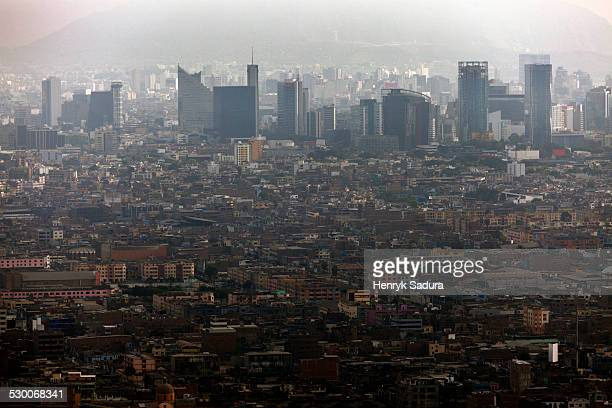 Peru, Lima, Elevated view of crowded city