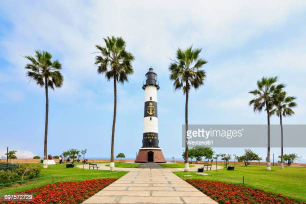 peru, lima, miraflores, malecon, miraflores boardwalk, lighthouse - lima peru stock photos and pictures