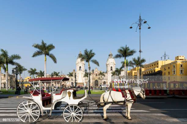 peru, lima, plaza de armas, cathedral of lima and carriage - lima animal stock pictures, royalty-free photos & images