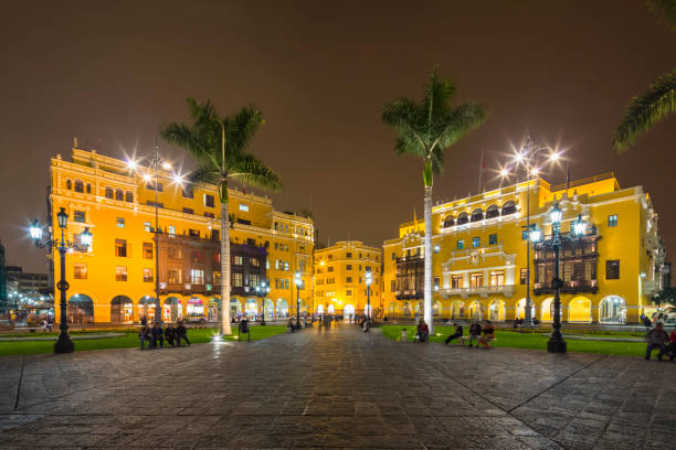 Peru, Lima, Plaza de Armas, Municipalidad Metropolitana at night