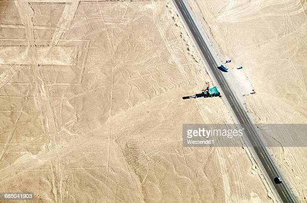 peru, nazca, aerial view of geoglyphs of nazca and palpa, unesco world heritage - nazca lines stock pictures, royalty-free photos & images