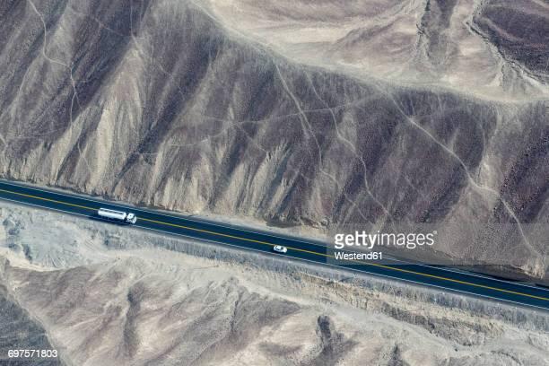 Peru, Nazca, Aerial view of geoglyphs of Nazca, Carretera Panamericana Sur