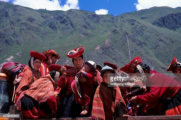 Peru Near Cuzco Sacred Valley Ollantaytambo Local People On Truck