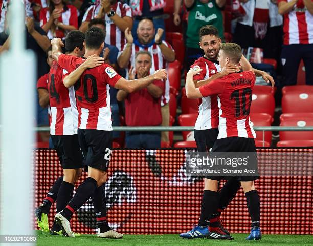 Peru Nolaskoain of Athletic Club celebrates after scoring during the La Liga match between Athletic Club and CD Leganes at San Mames Stadium on...