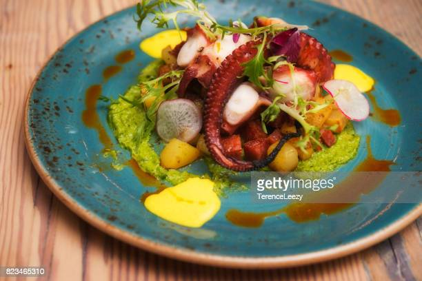 peru octopus tapas - tapas stock photos and pictures