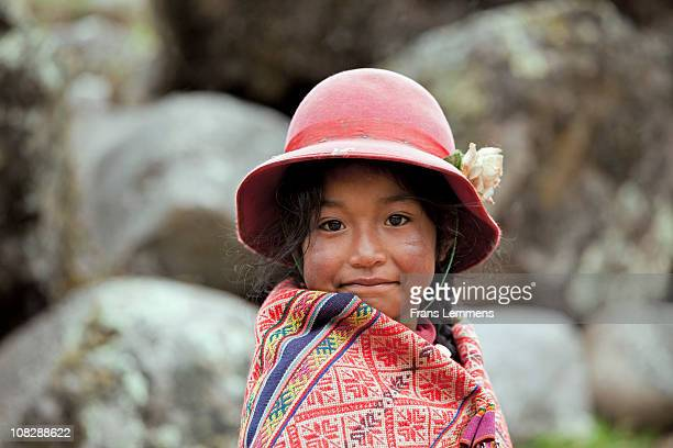 Peru, Patacancha, Indian girl in traditional dress