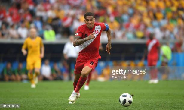 Peru player Paolo Guerrero in action during the 2018 FIFA World Cup Russia group C match between Australia and Peru at Fisht Stadium on June 26 2018...