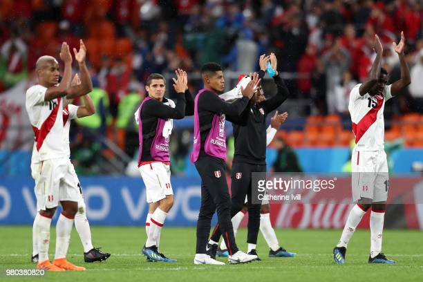 Peru players acknowledges the fans following the 2018 FIFA World Cup Russia group C match between France and Peru at Ekaterinburg Arena on June 21...