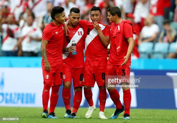 Peru players react after the 2018 FIFA World Cup Russia group C match between Australia and Peru at Fisht Stadium on June 26, 2018 in Sochi, Russia.