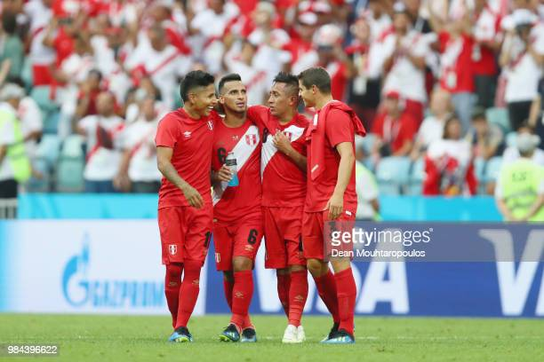 Peru players react after the 2018 FIFA World Cup Russia group C match between Australia and Peru at Fisht Stadium on June 26 2018 in Sochi Russia