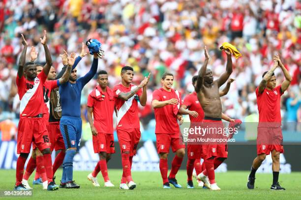 Peru players show appreciation to the fans after the 2018 FIFA World Cup Russia group C match between Australia and Peru at Fisht Stadium on June 26...