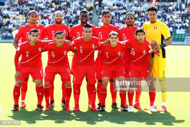 Peru pose for a team photo ahead of the 2018 FIFA World Cup Qualifier match between the New Zealand All Whites and Peru at Westpac Stadium on...
