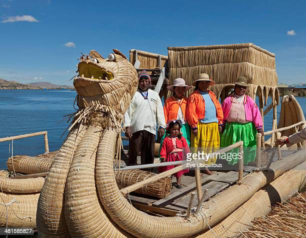 Peru Puno Residents of one of the many islands in Lake Titicaca