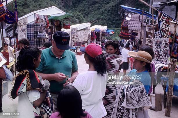 Peru Sacred Valley Near Machu Picchu Aguas Calientes Tourist Shopping For Souvenirs