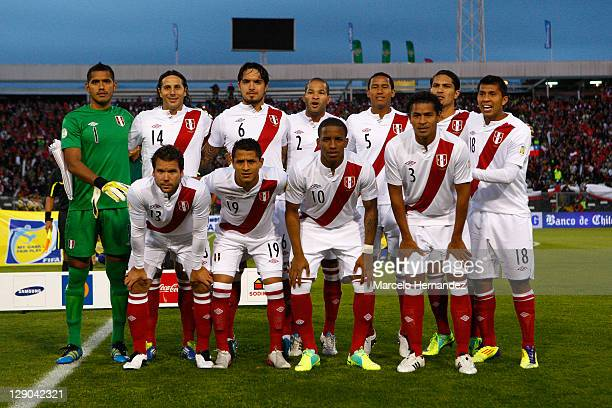 Peru team poses for a photo during a match as part of the first round of the South American Qualifiers for Brazil 2014 FIFA World Cup on October 11...