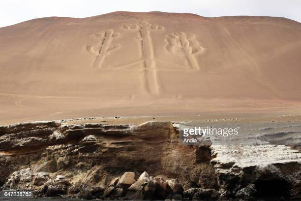 Peru The Paracas National Reserve a protected area established in 1975 and situated in the Pisco Province The Paracas Candelabra on the northern face...